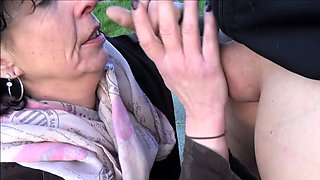Public outdoor german granny sex with amateur in stockings