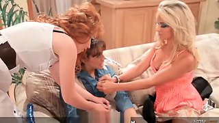 Innocent teen girl has lesbian threesome with two older MILFs