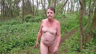 Sexy matures naked slut walk through the woods