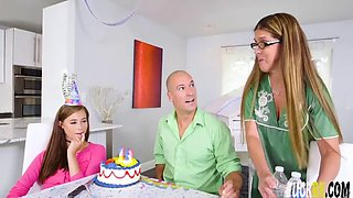 carolina sweets in blowing the birthday cock with dad