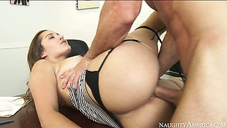 Stunning brunette girl Dani Daniels fucks Johnny Sins in the office