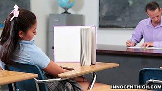 InnocentHigh - Bored Schoolgirl Fucks Teacher