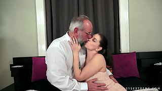 Sassy brunette Angelina Brill gets fucked by an old fart