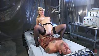 Cherie deville is facesitting slave and gives femdom handjob