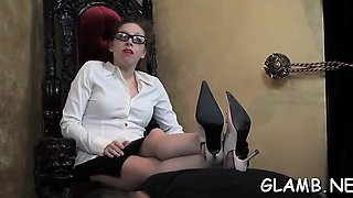 Female domination with honey putting slave on a leash