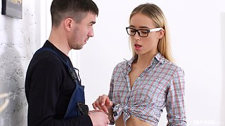 Russian blondie Ria gets her asshole pounded in the kitchen