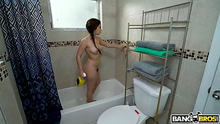 Maid caroline ray is cleaning the bathroom