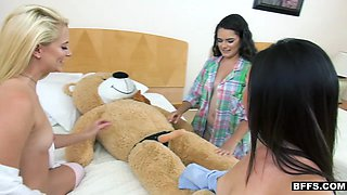 BFFS - Sexy Teens Practice With Stuffed Bear During Sleep Over