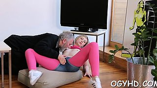 Horny young gal loves hardcore insertion of old hard cock