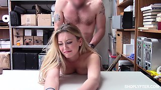 Blonde cutie Adira Allure sprayed with cum on face after a forced fuck
