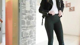 german teen amazing cameltoe and ass slowmo