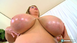 fat plumper with big tits gets oiled up and masturbates