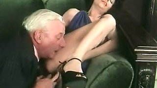 Mature white man licks delicious pussy of a hot brunette milf