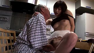 Lustful Asian babe seduces an old man to fulfill her needs