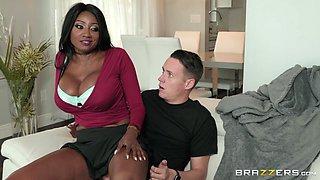 big titty black milf chokes on cock
