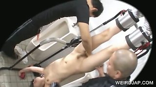 Asian slave gets mouth and twat vibed