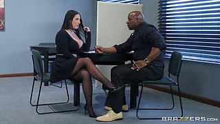 angela white sucks her boss's big black cock