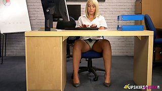 Nasty secretary Millie Fenton shows upskirt in the office