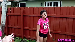 Petite soccer teen and her bff fucked after workout