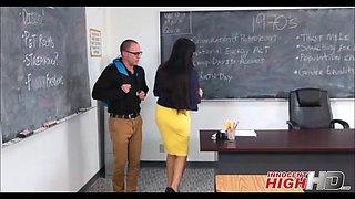 hot big tits milf school teacher fucks nerdy student