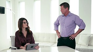 Oiled up secretary Michele James rides her bosses cock