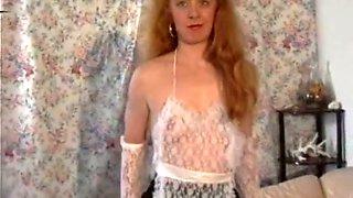 Lean redhead vintage skank filmed by her girlfriend during sex