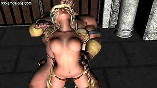 Hot animated babe gets rammed from behind