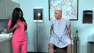 Latina nurse Sadie Santana gets both holes stretched hard
