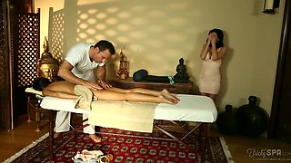 Brutal massage therapist enjoys steamy 3 some with slutty young GF and skilled busty MILF