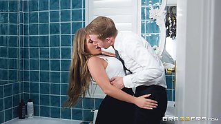 stunning couple fucking hard in the bathroom