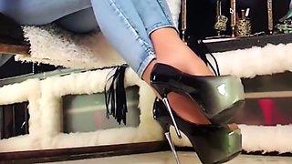 Smoking, High heels dangling, Wolford Neon Glanz 40den pantyhose, mean talk
