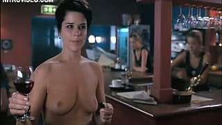 Drunk Brunette Hottie Neve Campbell Making a Toast Naked