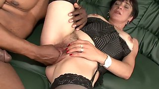 Hairy brunette mature in stockings gets bbc