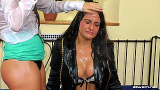 Salacious babes soaks their themselves wet with drinks in an after party pov