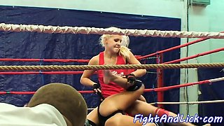 Wrestling lesbian spanked and pussylicked