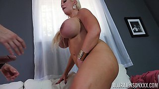 Babe with gigantic tits Alura Jenson gets grabbed and fucked hard