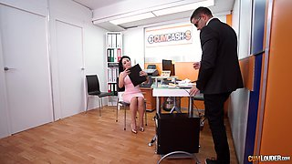 Long haired slutty secretary Evita Love sucks her bosses cock at work
