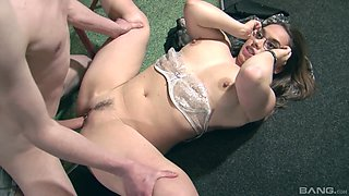 Wife in glasses Olga Cabaeva getting pounded tirelessly at a bar
