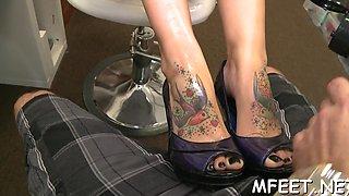 alluring milf and her footjob skills movie video 1