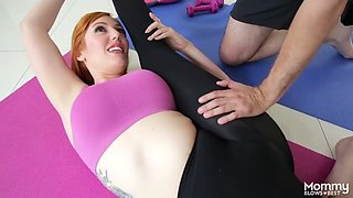 redhead babe in stockings is glad to do some cock sucking
