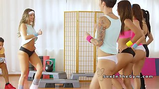 brunette fucked  at gym after class