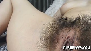 POV closeup of asshole and hairy pussy on babe