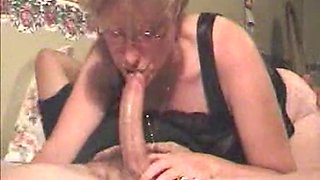 glasses milf deepthroat creampie