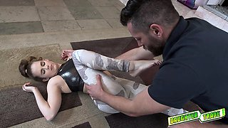 Lily Adams g spot got hit by dirty daddy and her eyes roll