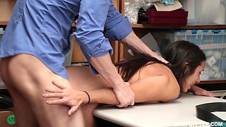 Lilly Hall forced to take off her jeans for a great sex game