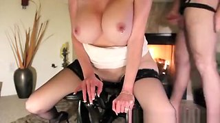 Busty pierced woman and big dildo machine