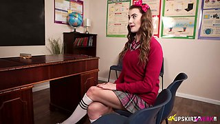 Wench in kilt skirt Brook Logan teases with her plump pussy