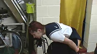 Schoolgirl screams while getting caned