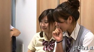 Sexy japanese schoolgirl gets her unshaved pussy toyed