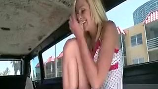 Stripping blondie teases her twat for sex in bus
